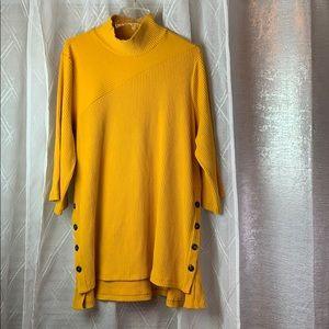 3/4 sleeve mock neck brushed rib tunic sz 18/20